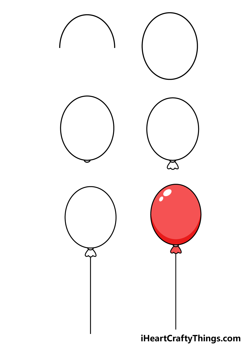 how to draw balloons in 6 steps