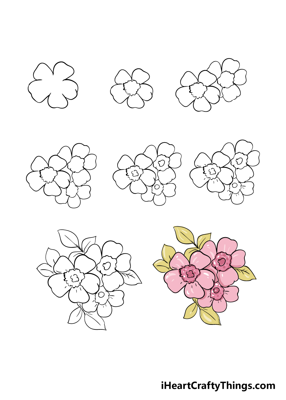how to draw cherry blossoms in 8 steps