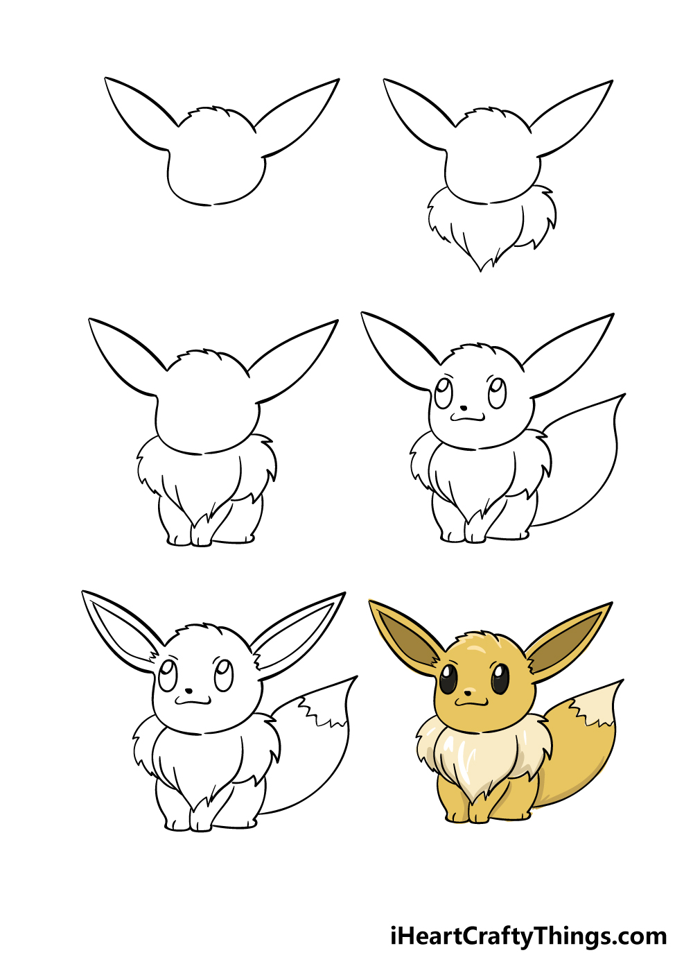 how to draw eevee in 6 steps