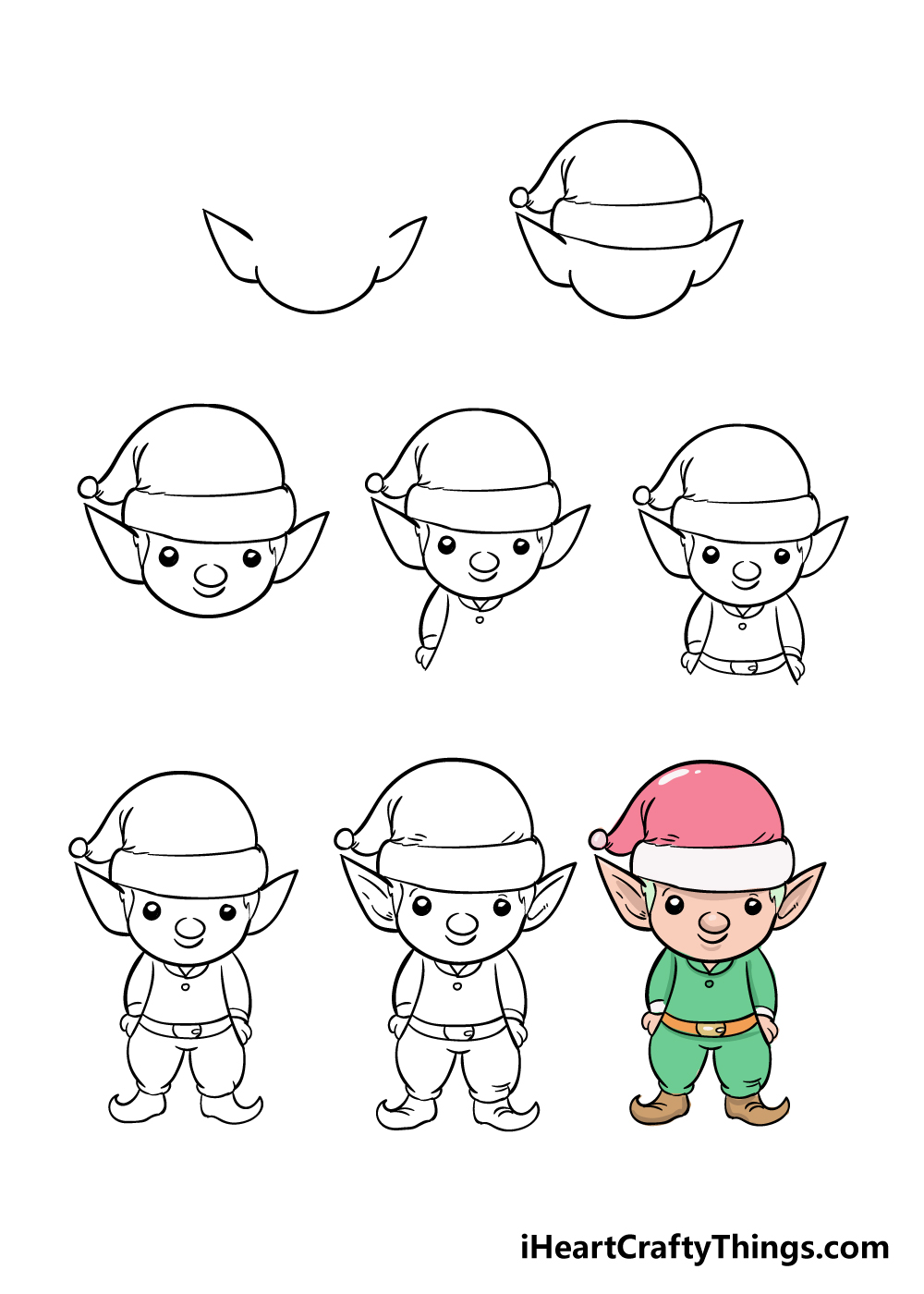 how to draw elf in 8 steps