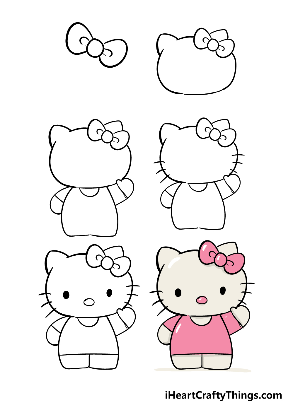 how to draw hello kitty in 6 steps