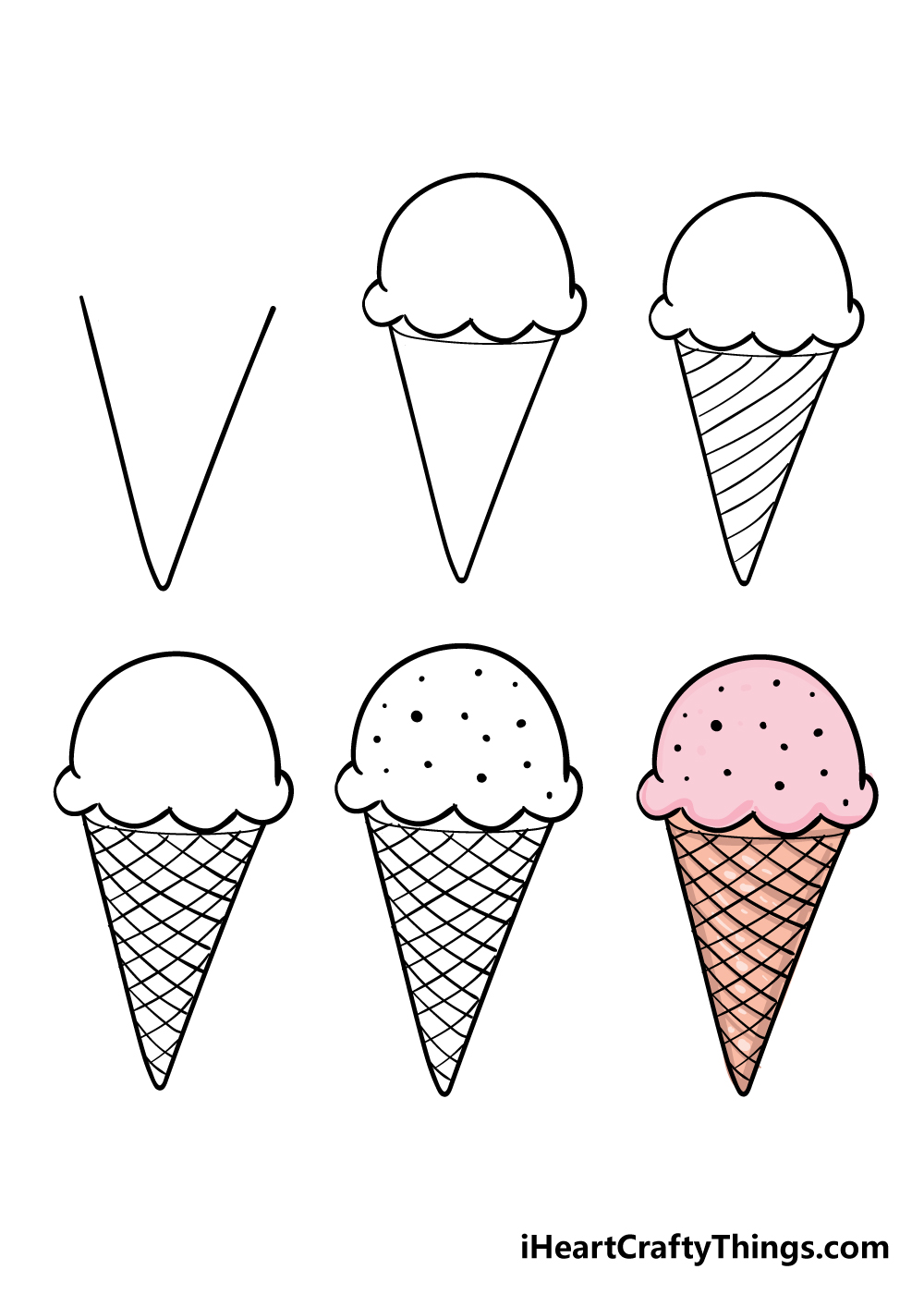 how to draw ice cream cone in 6 steps