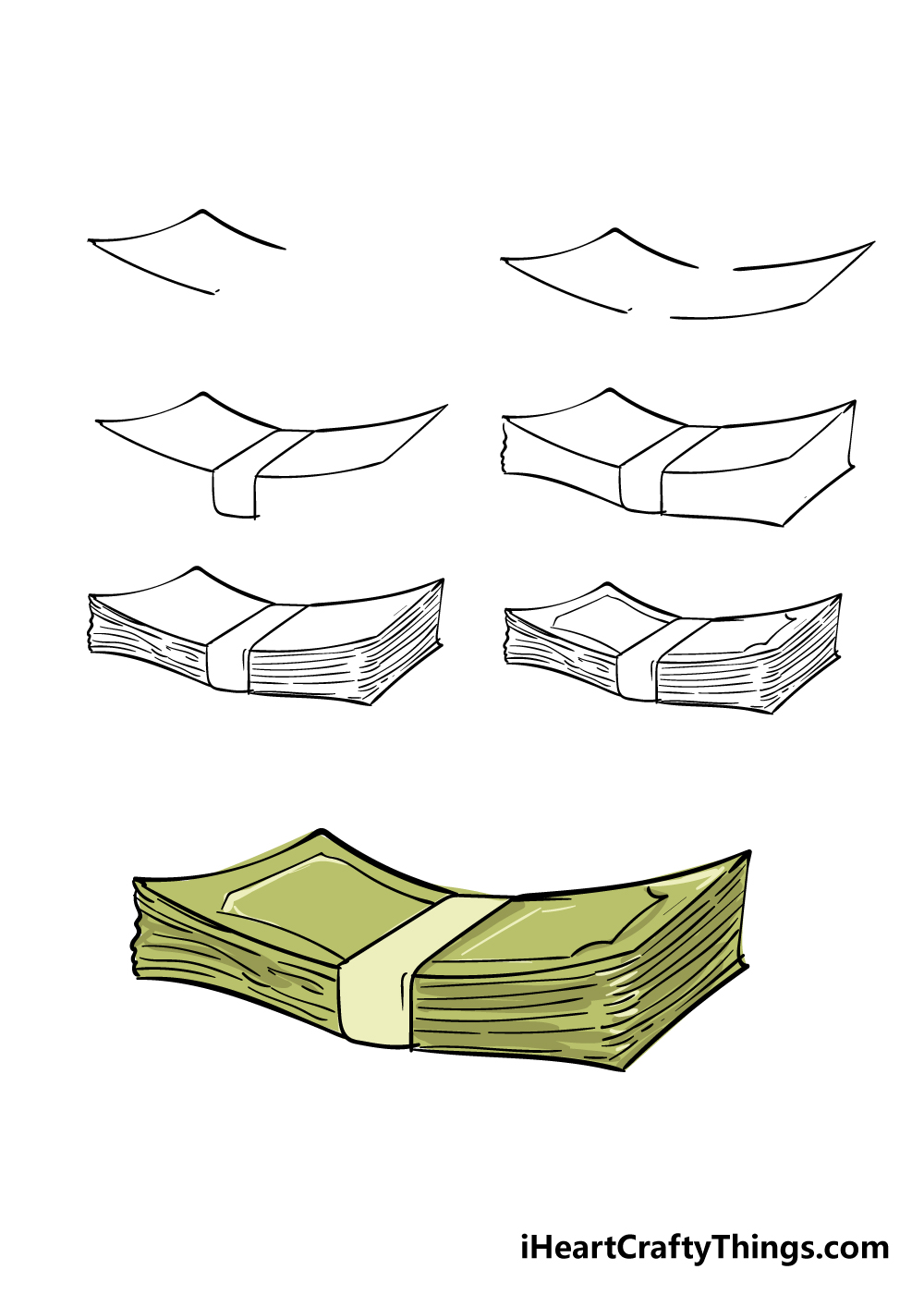 how to draw money in 7 steps