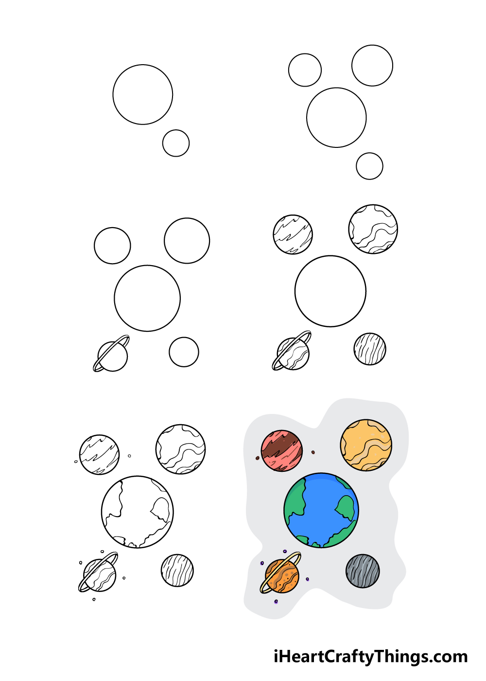 how to draw planets in 6 steps