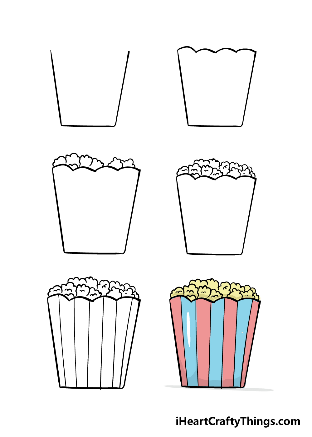 how to draw popcorn in 6 steps
