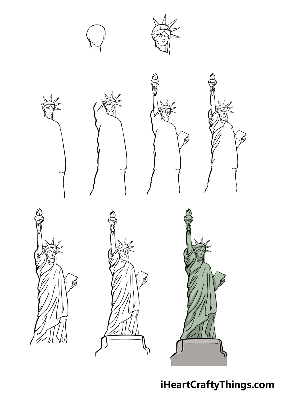 how to draw the Statue of Liberty in 9 steps