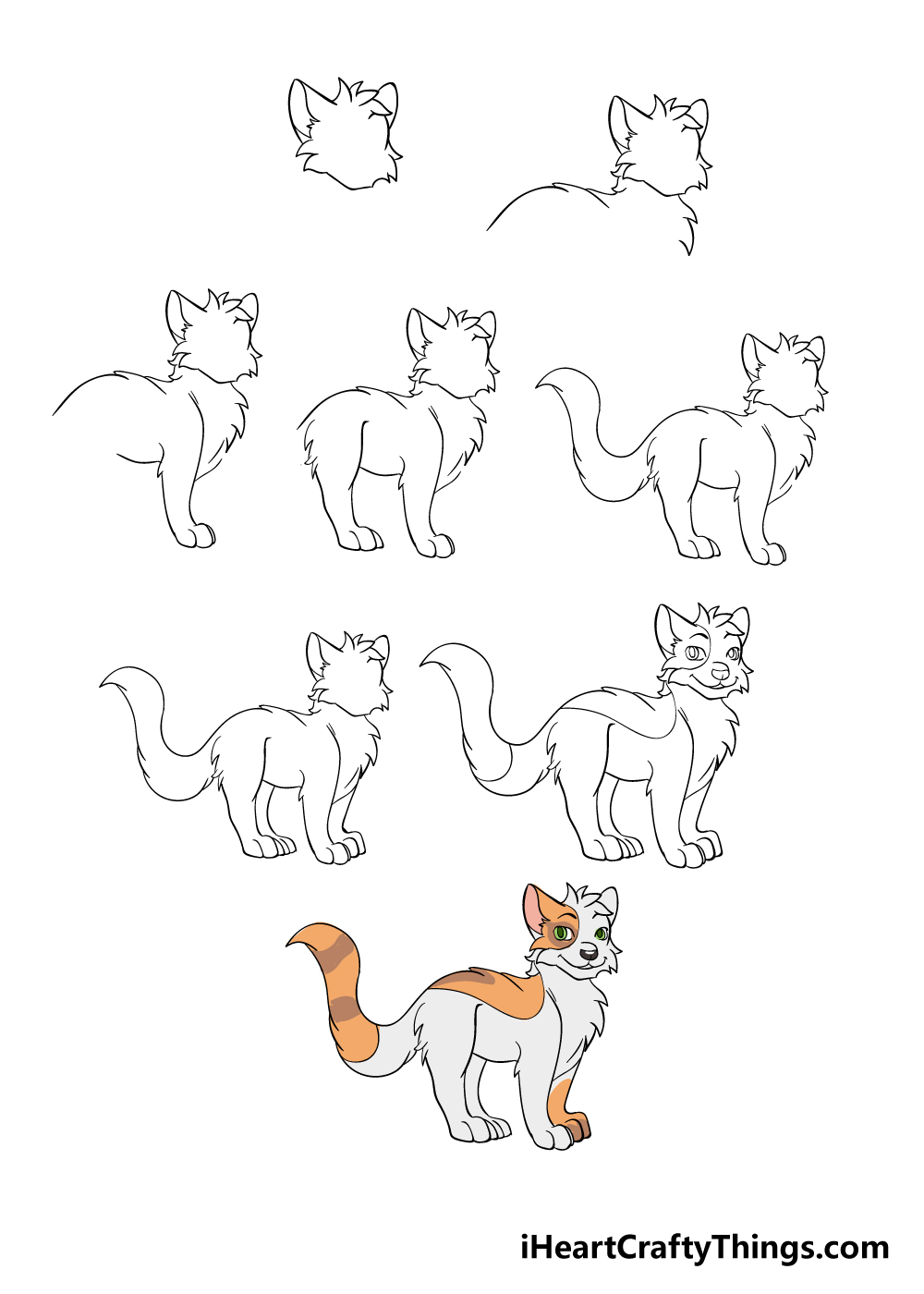 how to draw warrior cats in 8 steps