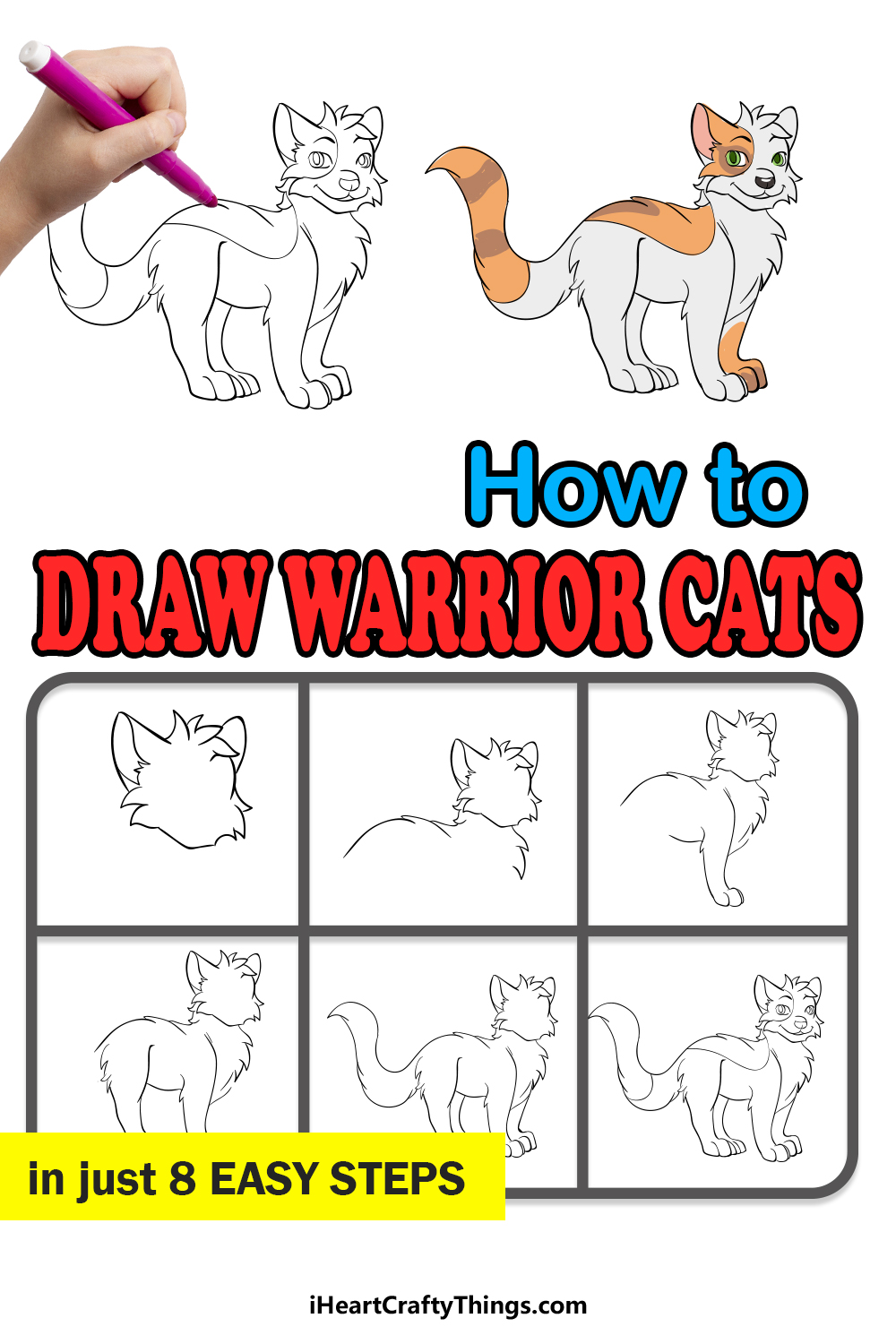 how to draw warrior cats in 8 easy steps