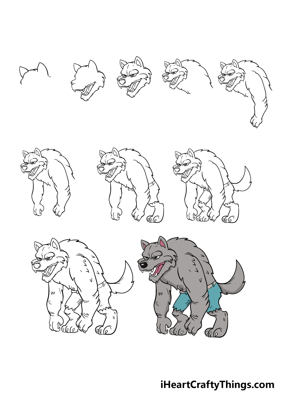 how to draw werewolf in 10 steps