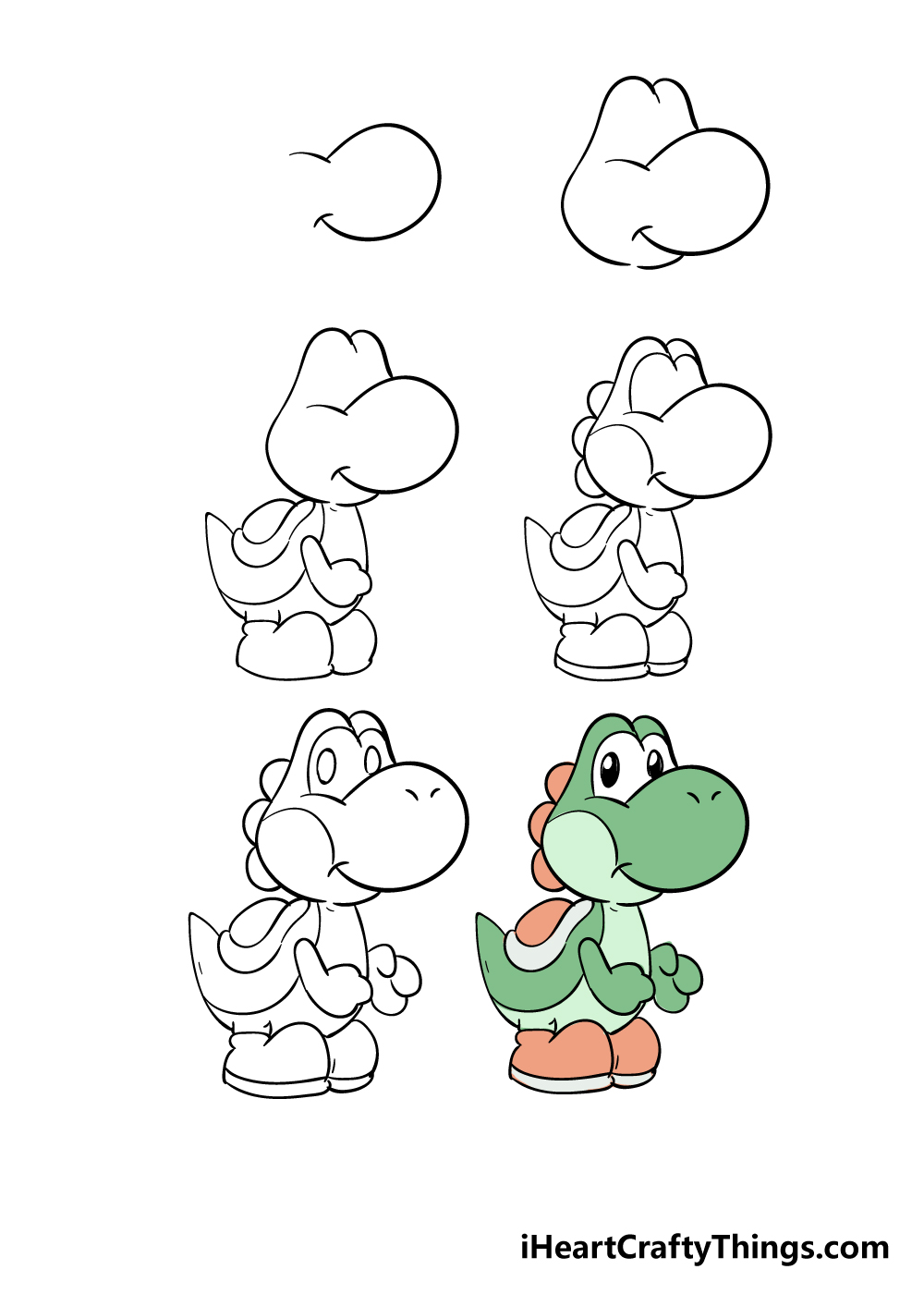 how to draw yoshi in 6 steps