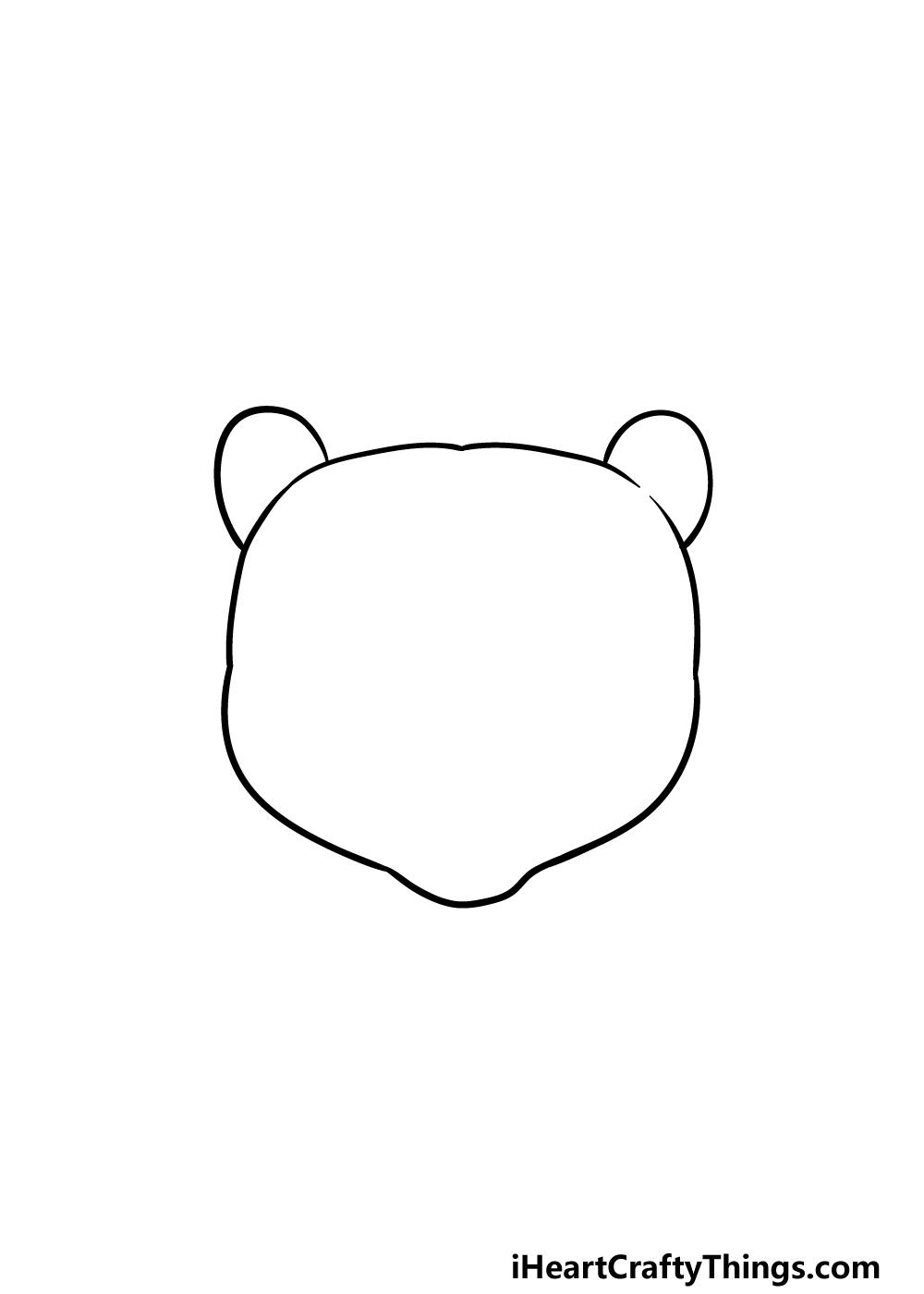 drawing a bear face step 1