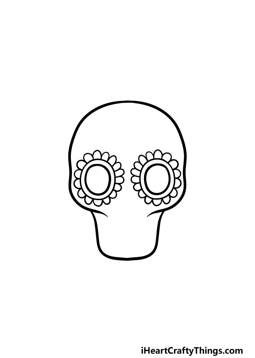 drawing a sugar skull step 2