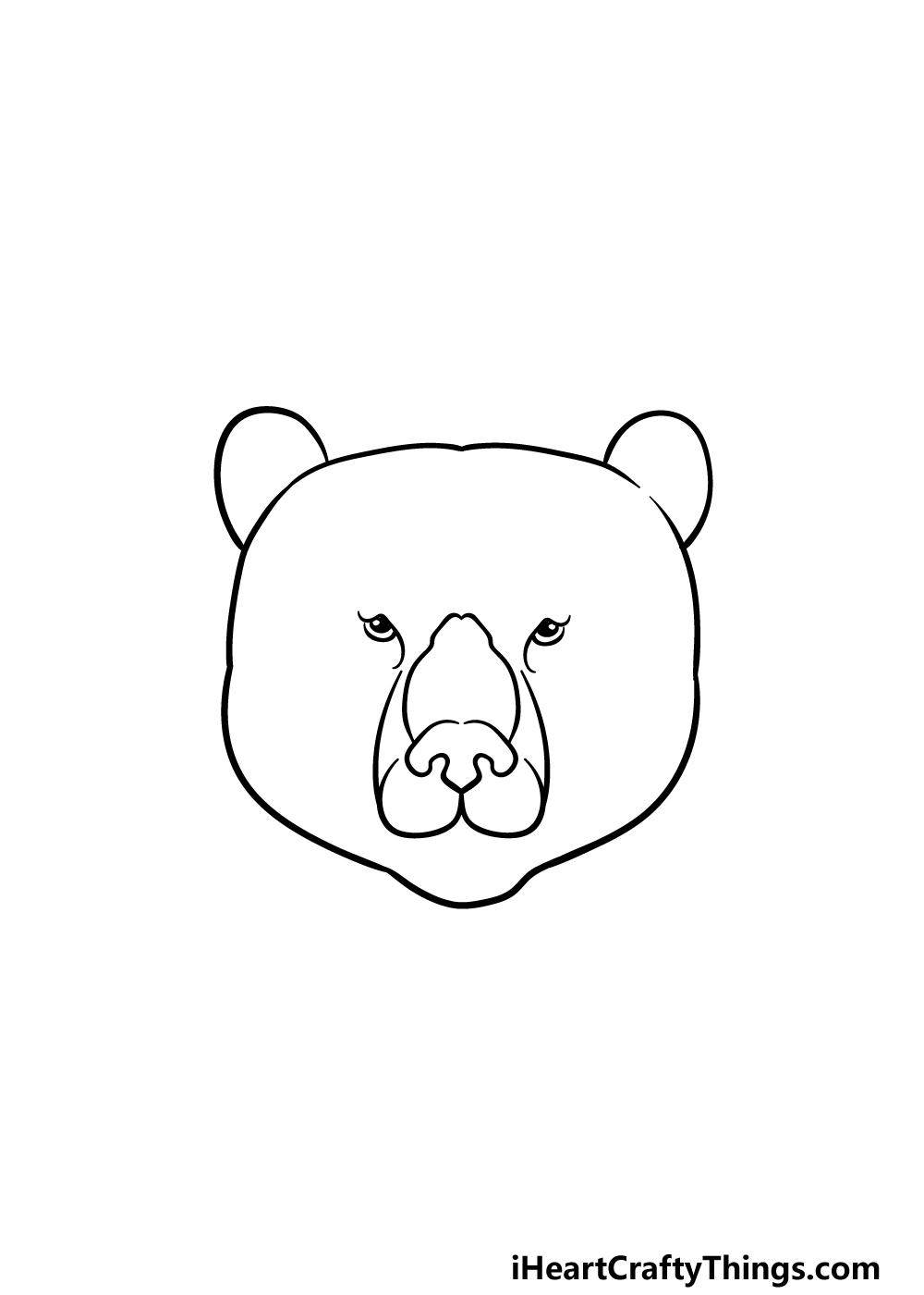 drawing a bear face step 2