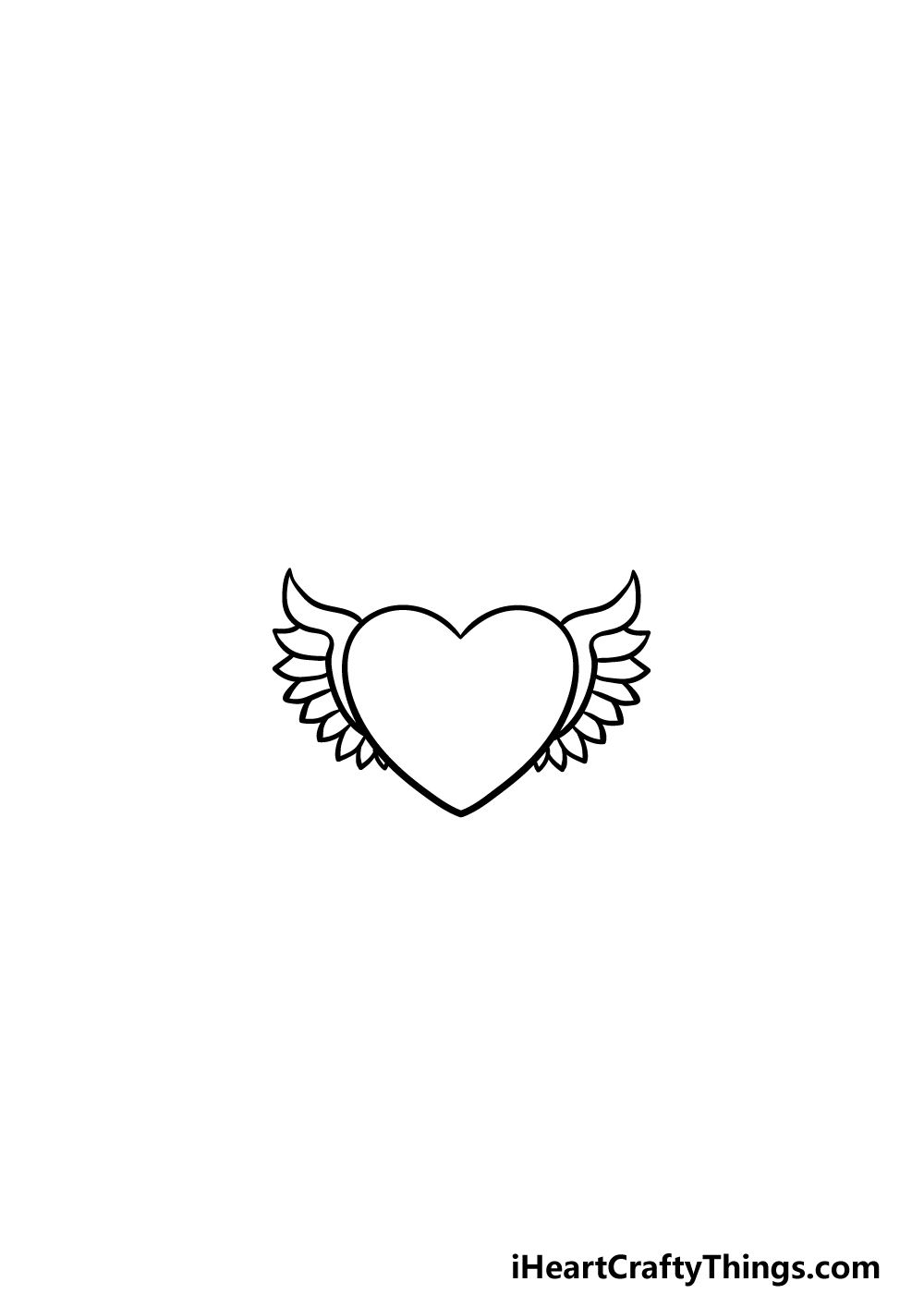 drawing a heart with wings step 2