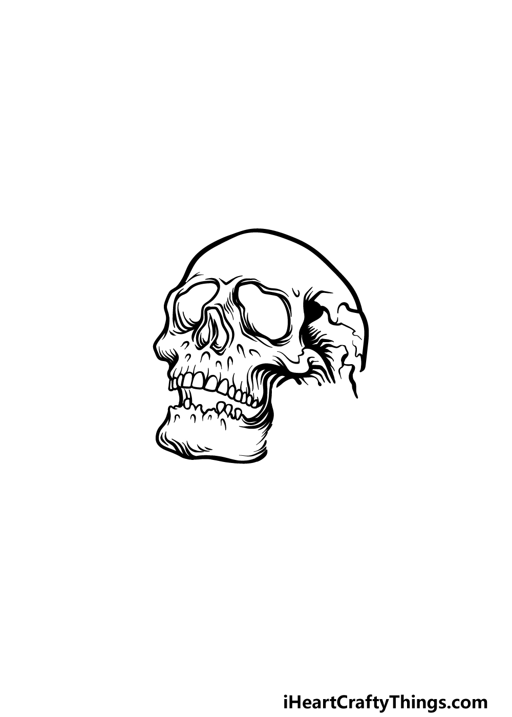 drawing A Rose Skull step 3