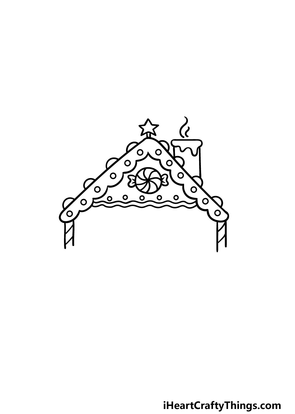 drawing gingerbread house step 3