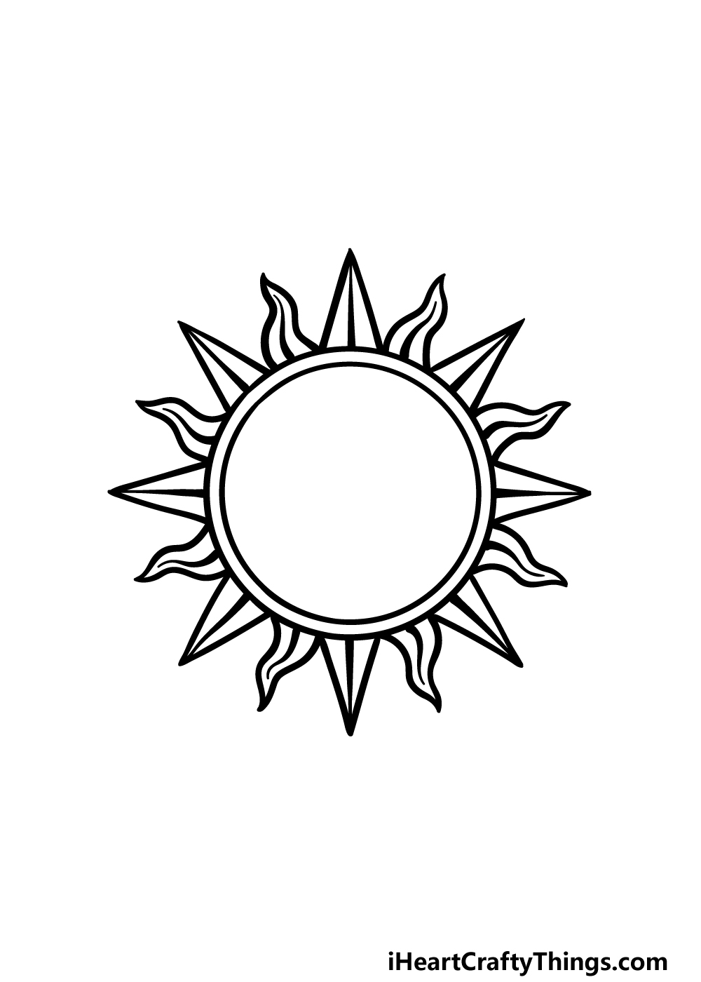 drawing sun and moon step 3