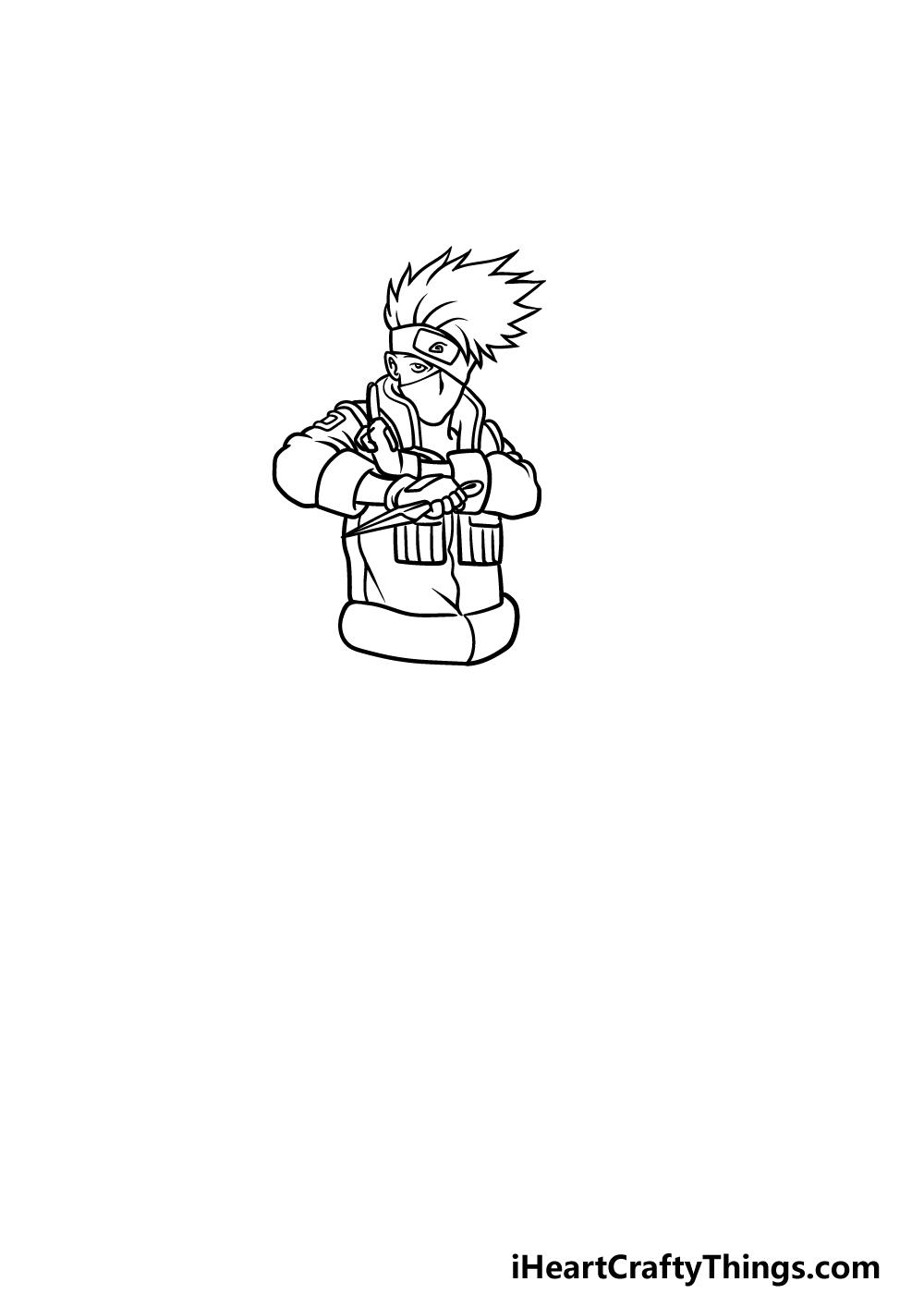 Drawing Kakashi step 3