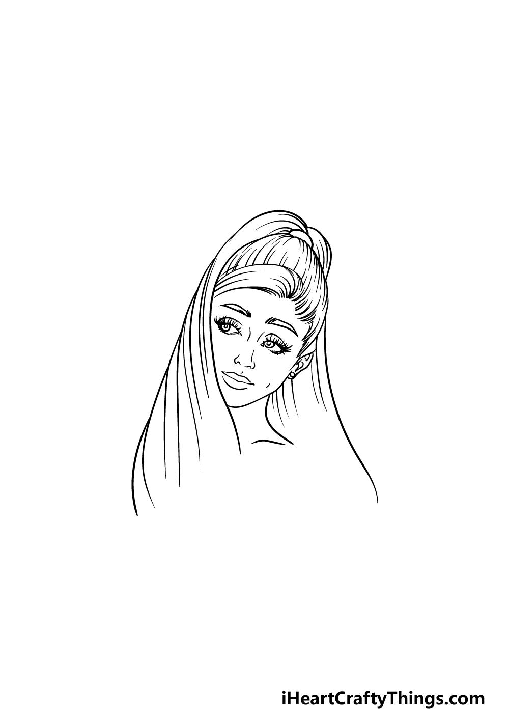 drawing Ariana Grande step 4