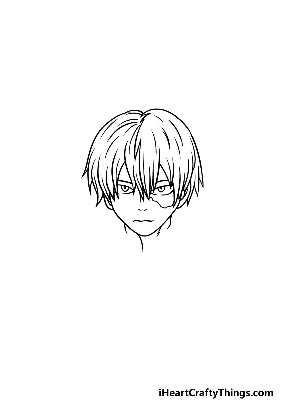 How To Draw Todoroki step 4
