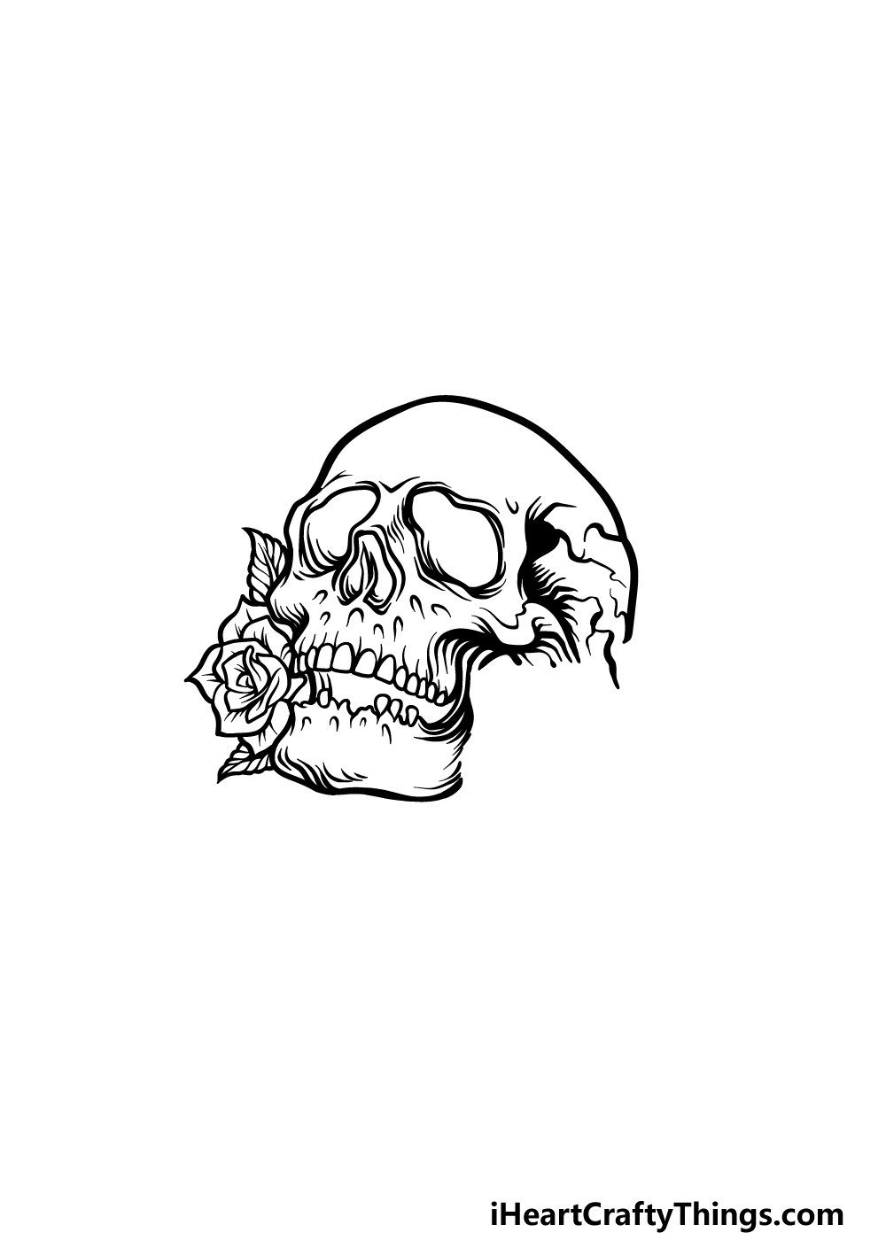 drawing A Rose Skull step 4