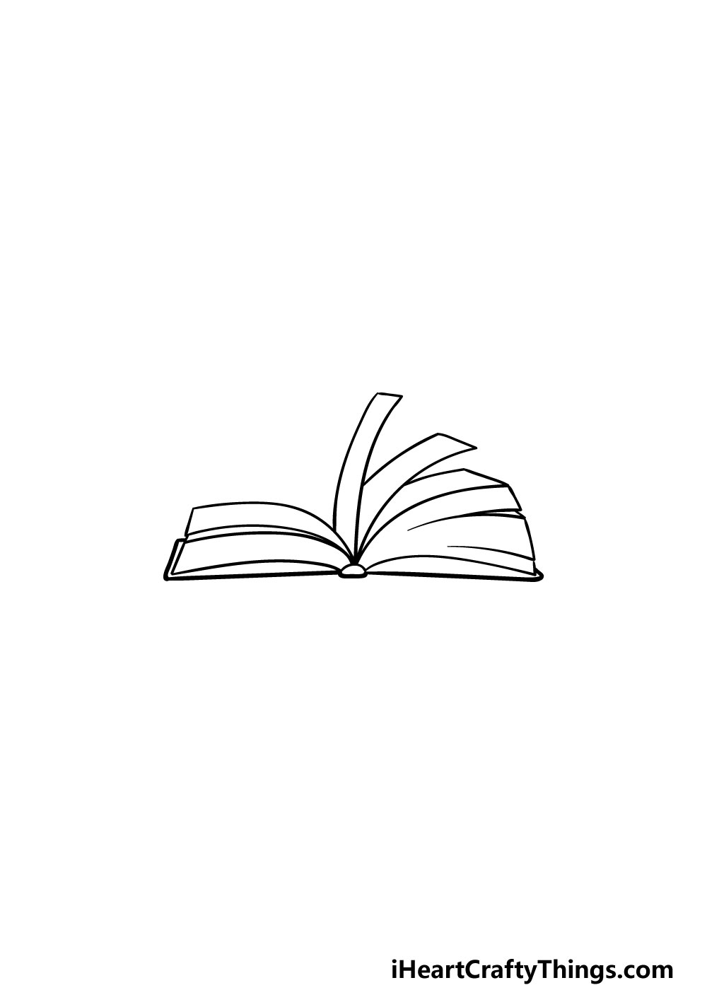 drawing an open book step 4