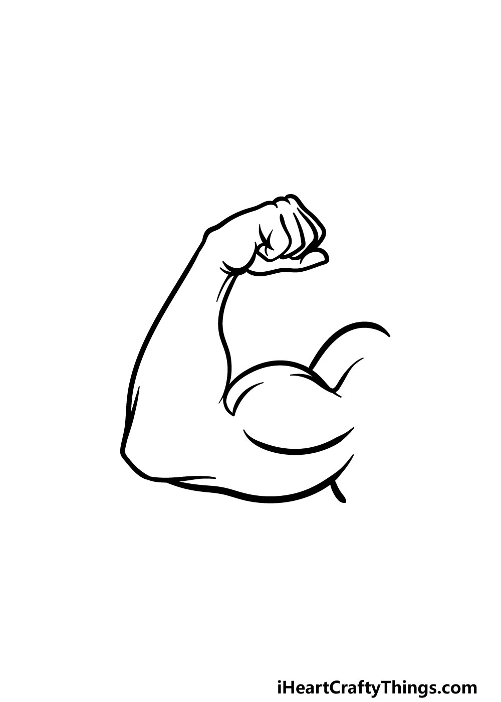 drawing a muscular arm step 4