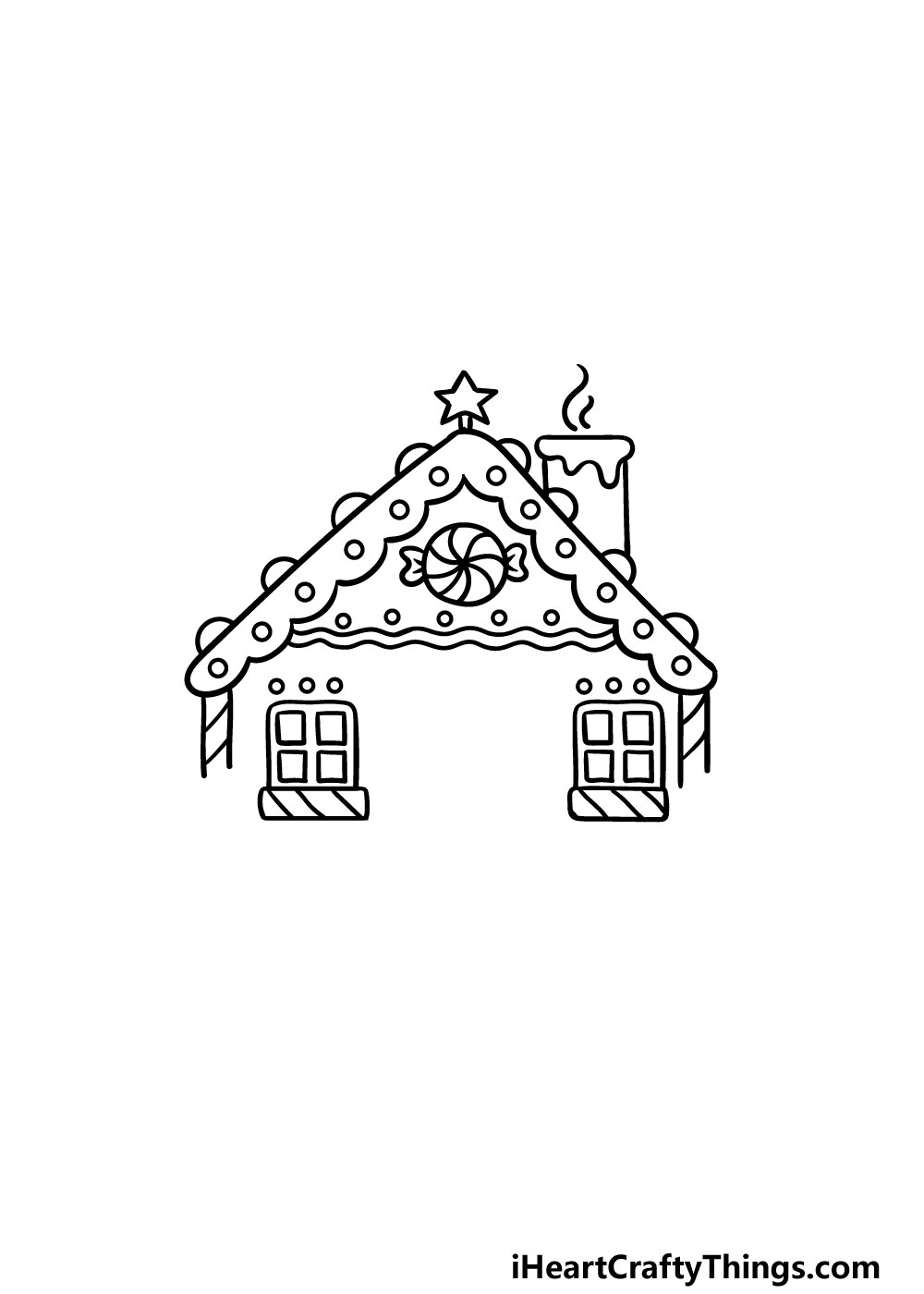 drawing gingerbread house step 4