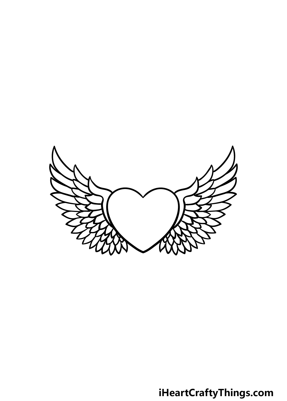 drawing a heart with wings step 4
