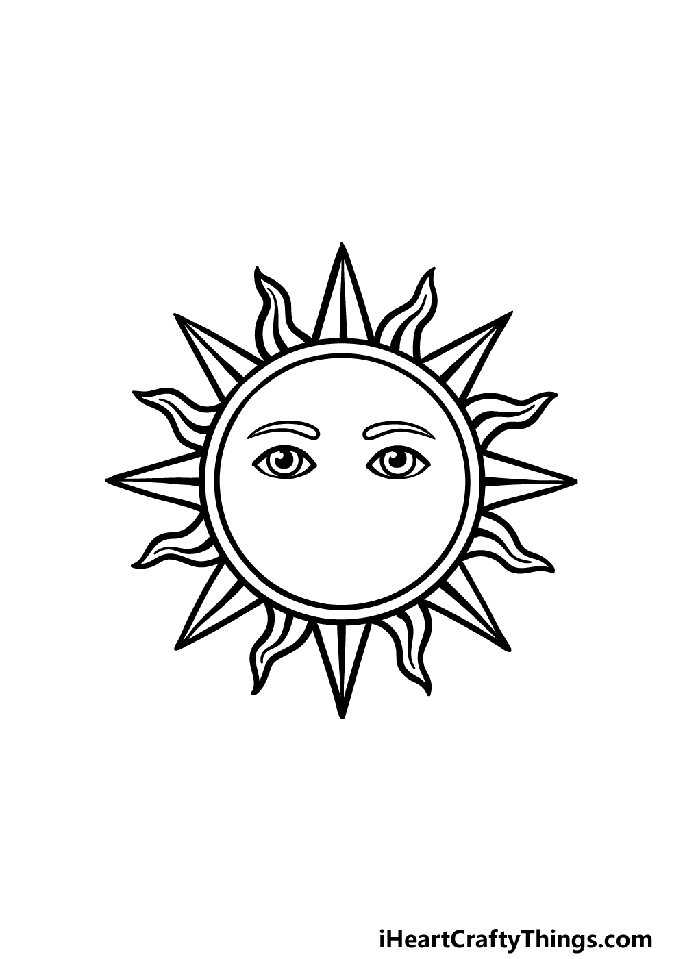 drawing sun and moon step 4