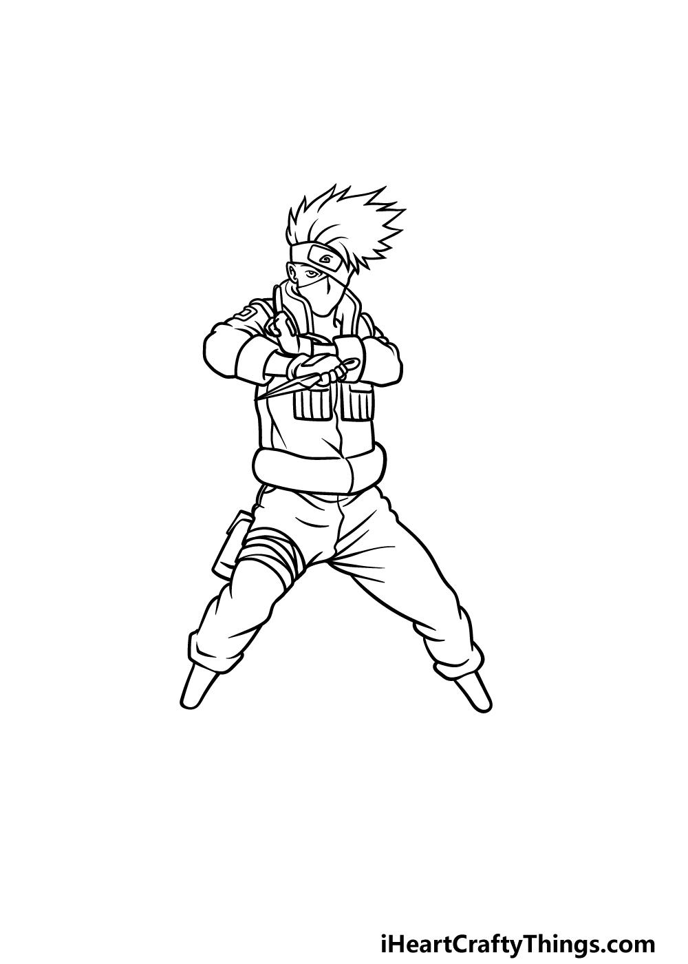 Drawing Kakashi step 4