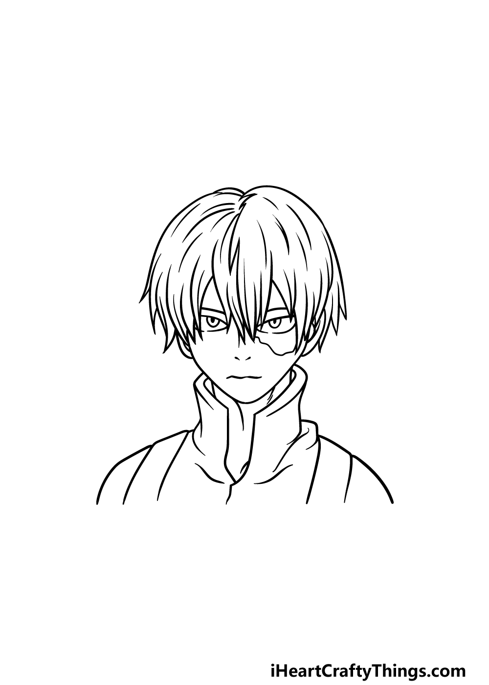 How To Draw Todoroki step 5