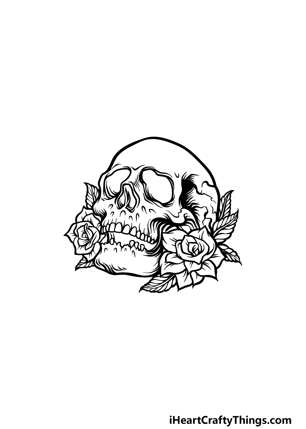 drawing A Rose Skull step 5