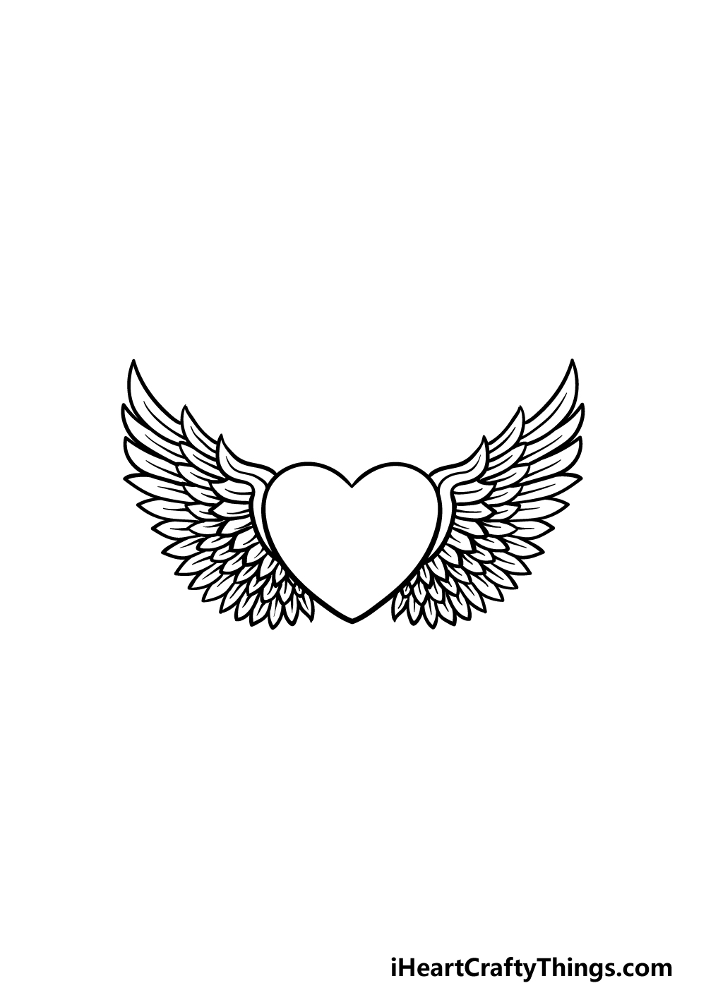 drawing a heart with wings step 5