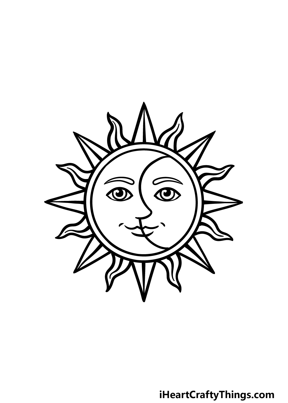 drawing sun and moon step 5