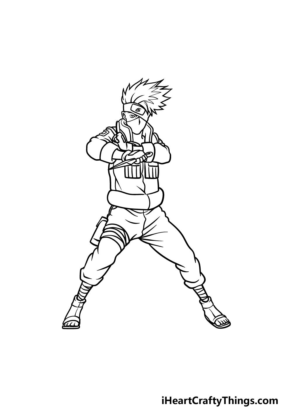 Drawing Kakashi step 5