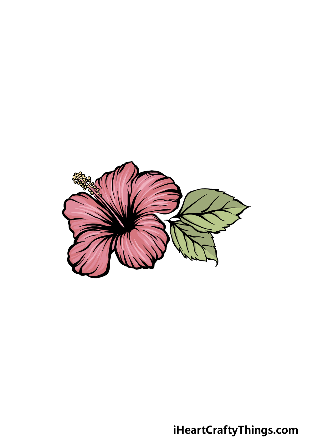 drawing hibiscus step 6