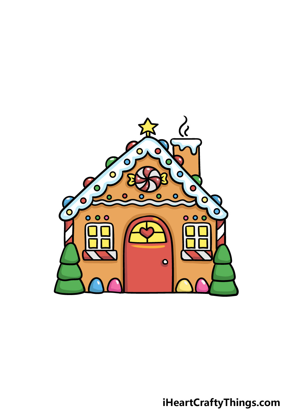 drawing gingerbread house step 6