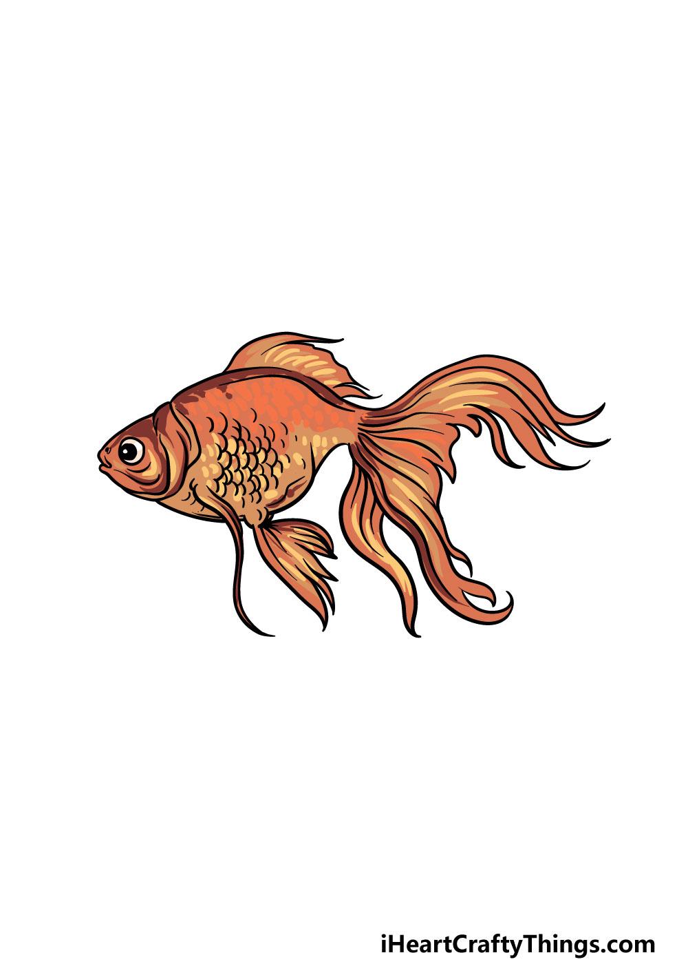 drawing a goldfish step 6