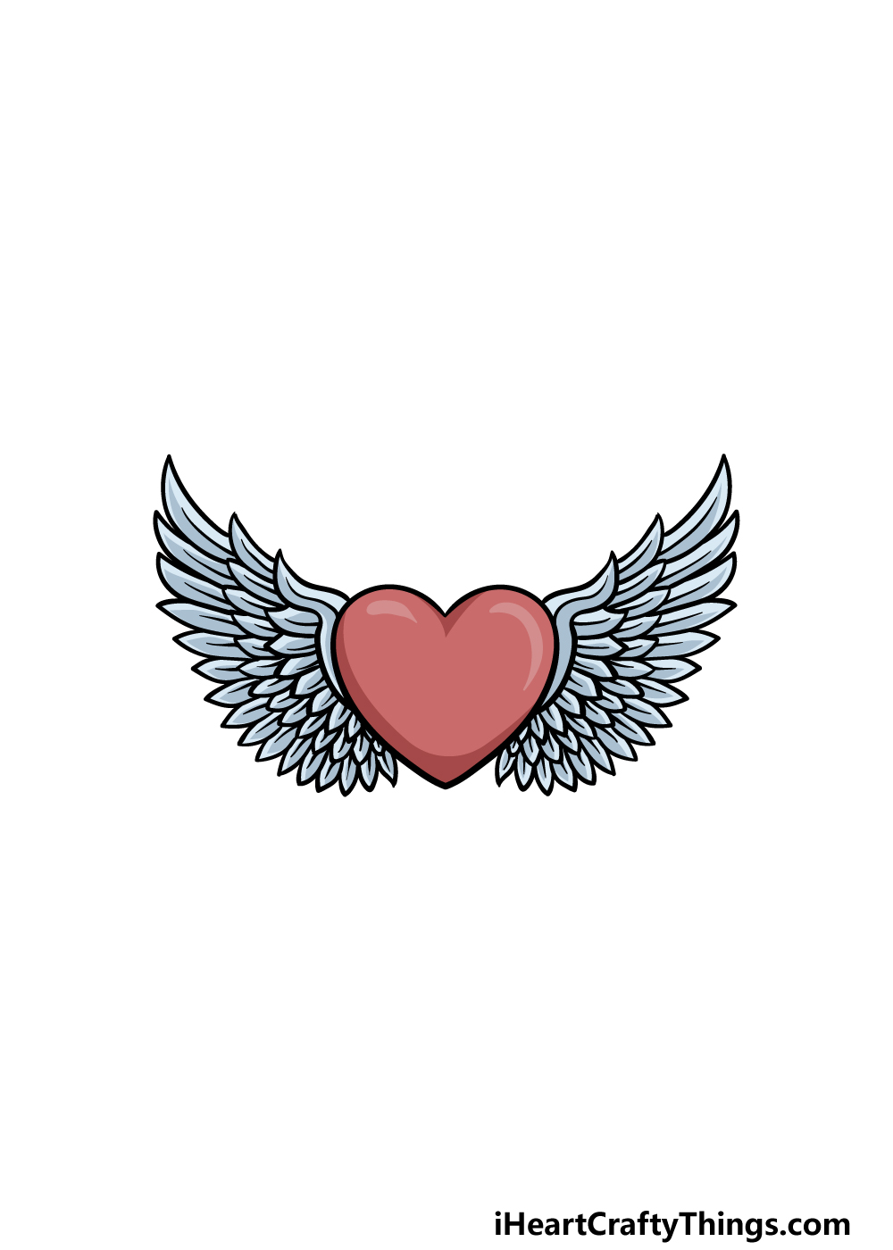 drawing a heart with wings step 6