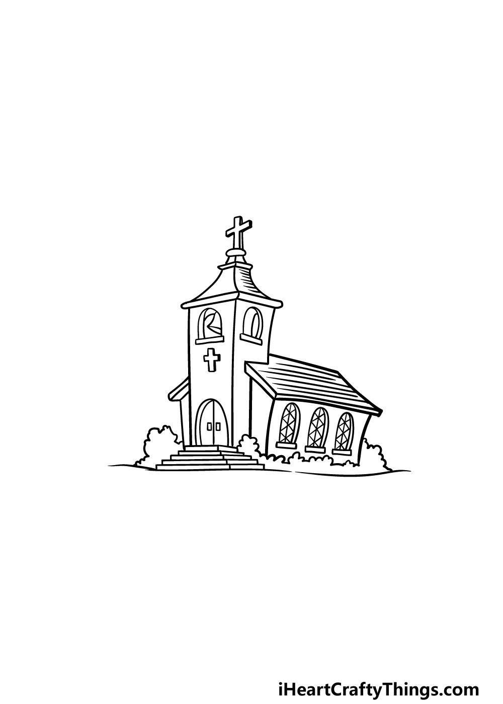 drawing a church step 7