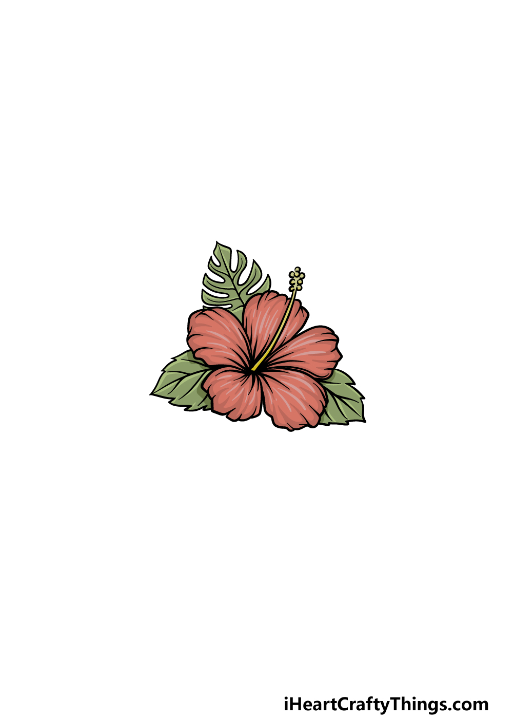 drawing Hawaiian Flower step 7