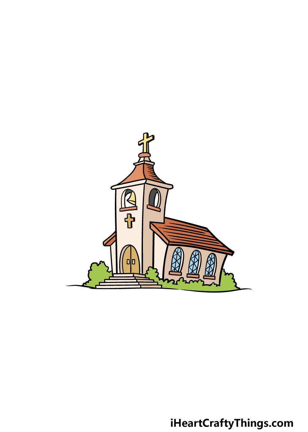 drawing a church step 8