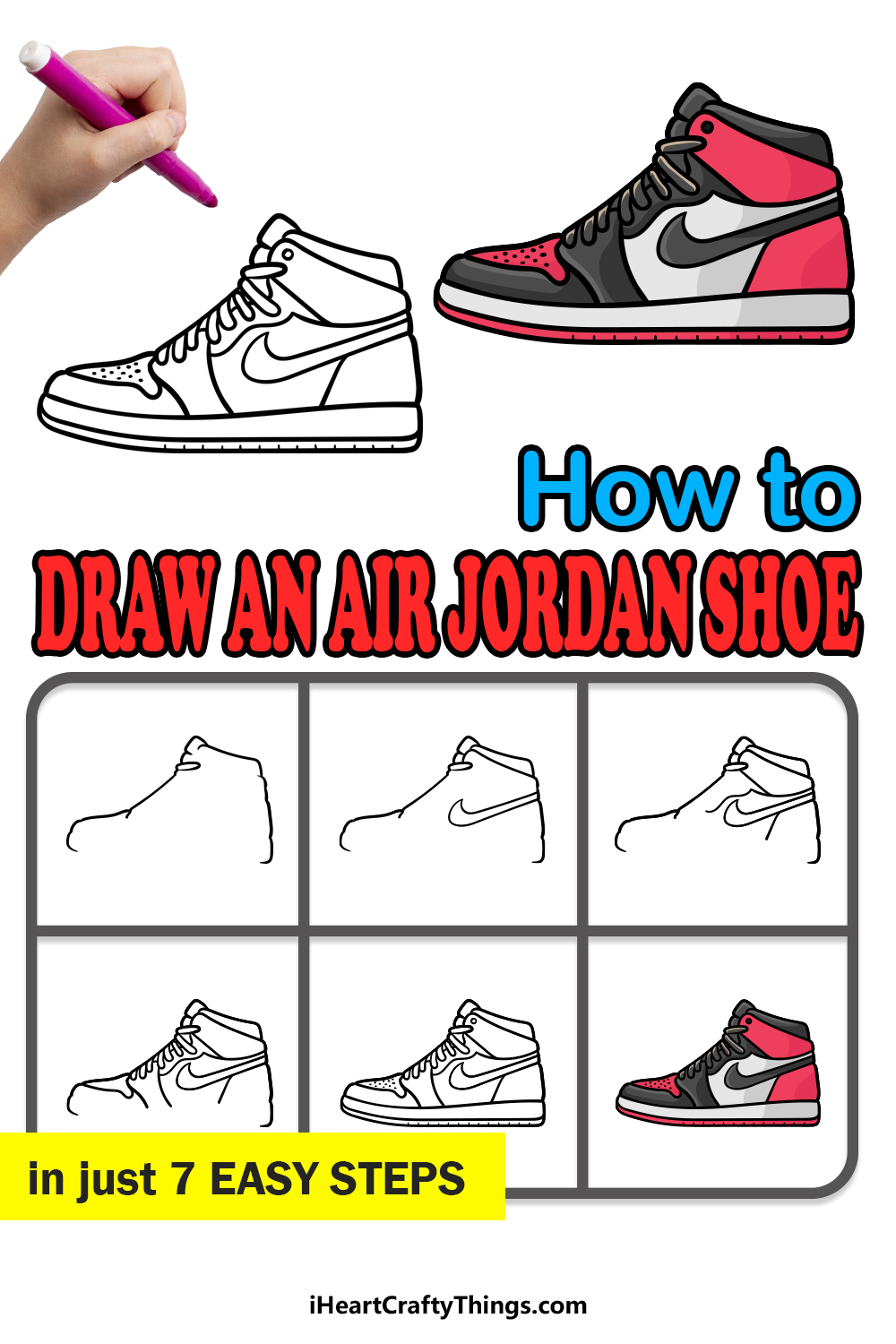 how to draw an air jordan shoe in 7 easy steps