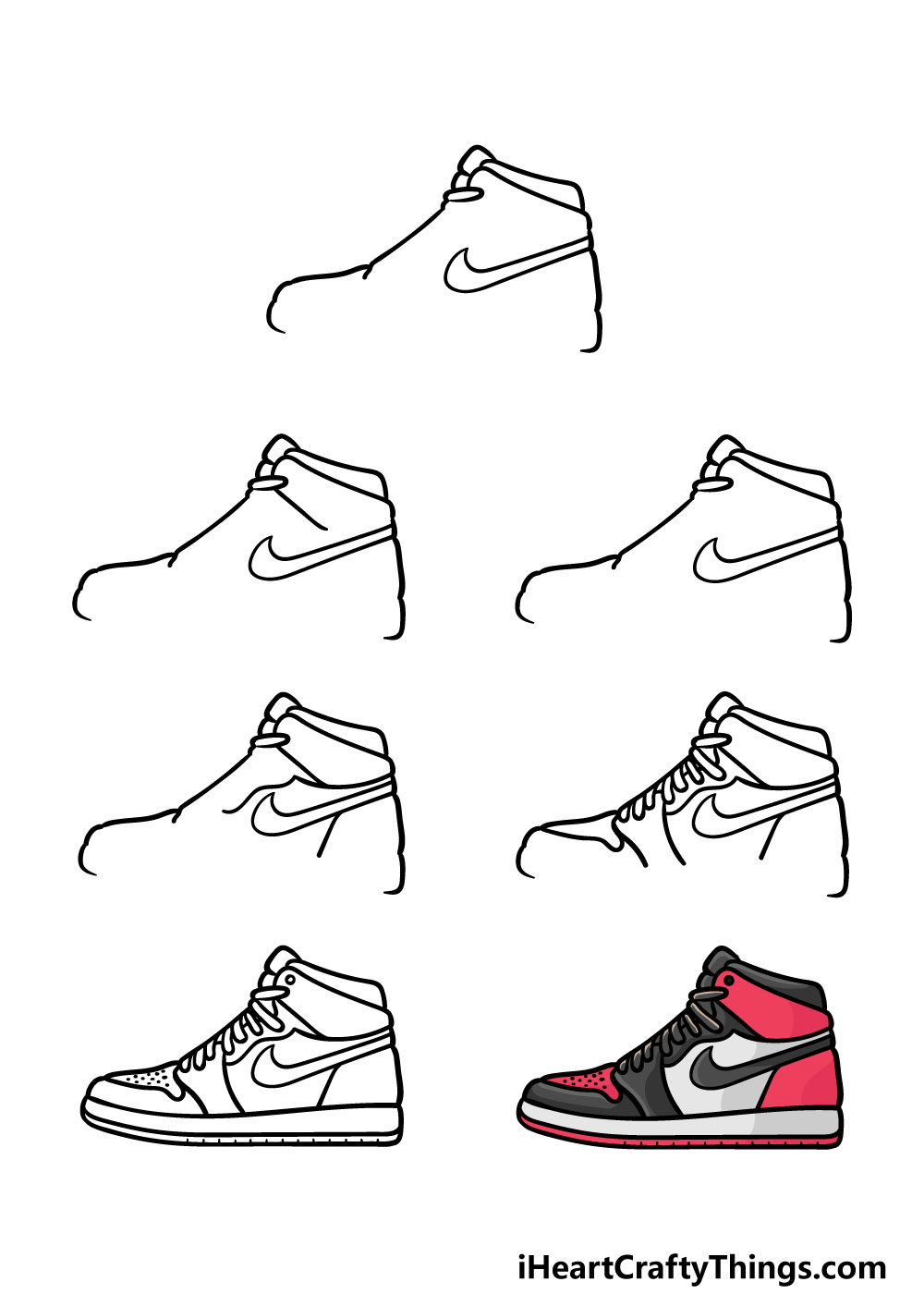 how to draw air jordan shoes in 7 steps
