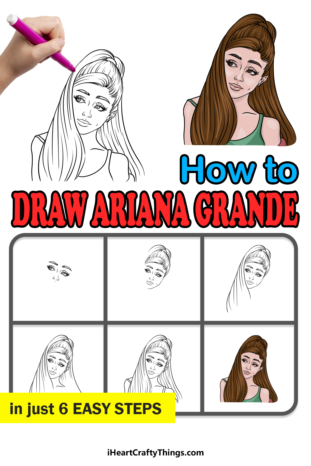 how to draw Ariana Grande in 6 easy steps