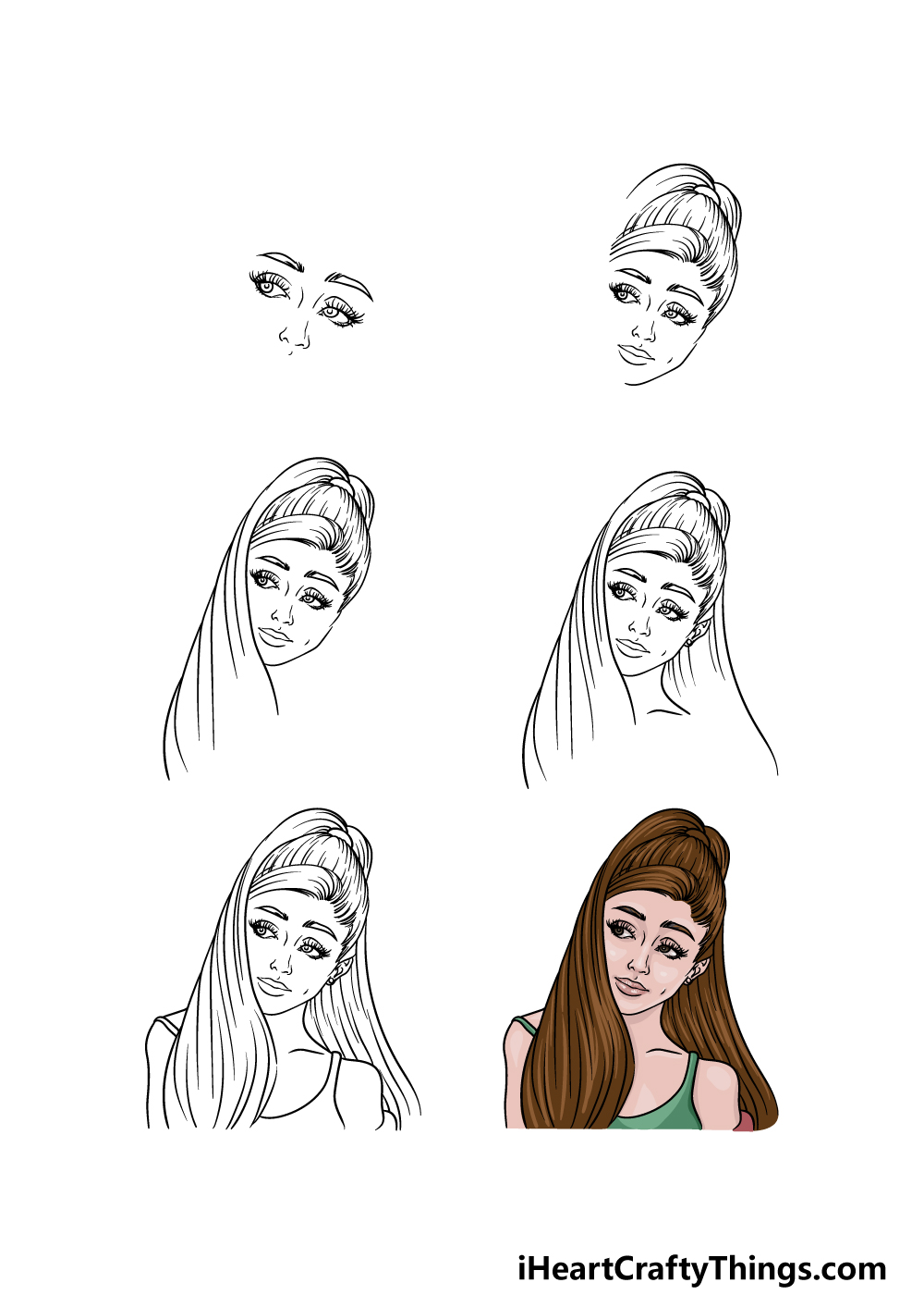how to draw Ariana Grande in 6 steps