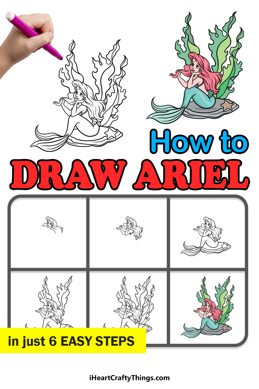 how to draw Ariel in 6 easy steps