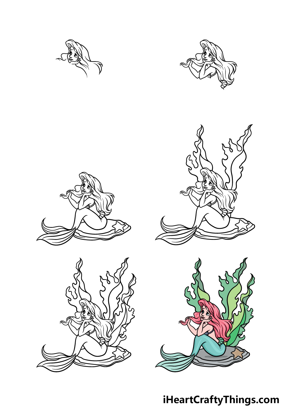 how to draw Ariel in 6 steps