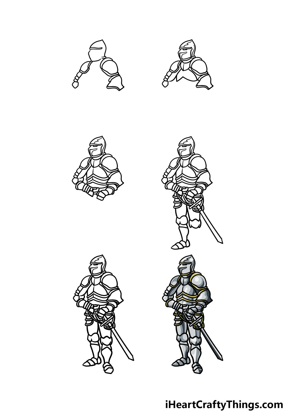 how to draw armor in 6 steps